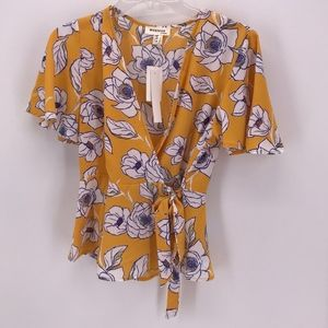 MONTEAU YELLOW FLORAL V-NECK SHORT SLEEVE BLOUSE M